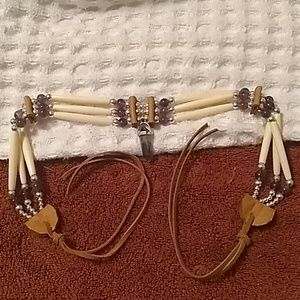 Jewelry - Native American Choker Amethyst Deer Bone Leather